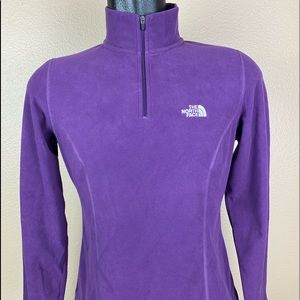 North Face TKA 100 Purple Fleece 1/4 Zip Medium